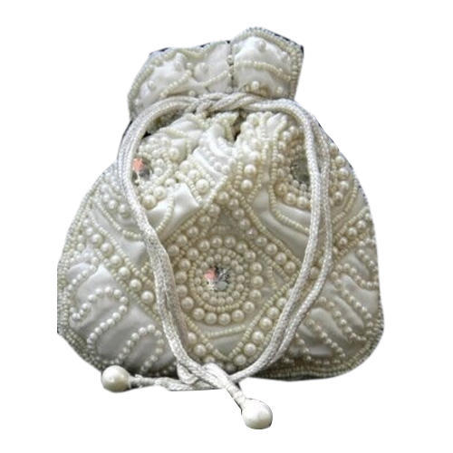Non Leather White Pearl Potli Bag