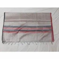 Party Wear Grey Plain Silk Cotton Saree