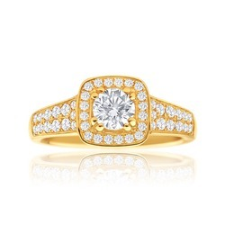 Solitaire With Accents Diamond Engagement Ring