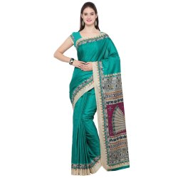 Green Colored Tussar Silk Kalamkari Print Saree