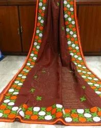 Cotton Runu's Boutique Aplik On Tant Saree, Hand Made, Without Blouse