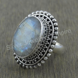 Fashion Jewelry Rainbow Moonstone 925 Sterling Silver Ring