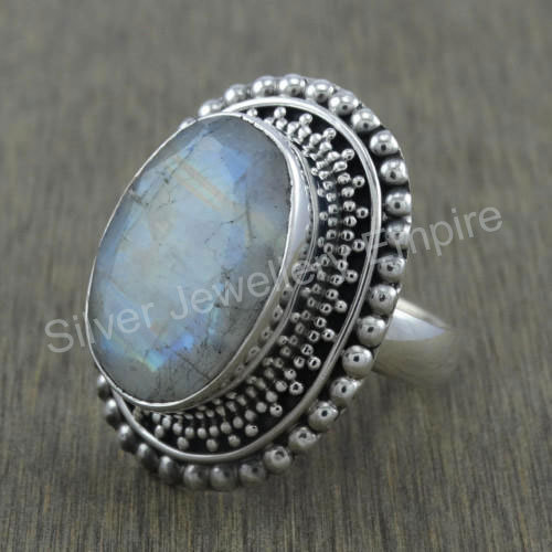 2b27599e0d Custom Design Unisex Fashion Jewelry Rainbow Moonstone 925 Sterling Silver  Ring