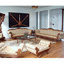 Shiv Cottage Brown Wooden Sofa Set, For Home