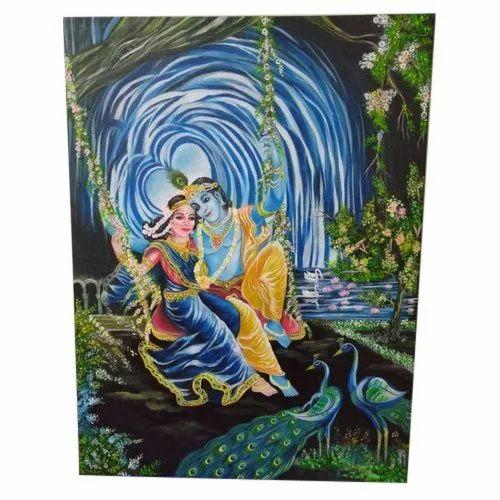 Unframed Radha Krishna Painting Size 18 X 24 Inch Id 21907788533