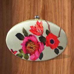 Printed Oval Box Clutch