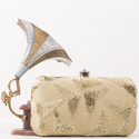 Golden Embroidered Box Clutch