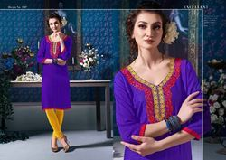 Rayon Embroidered Jaipuri Kurti, Size: S to XL