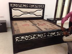 Oak Wood With Box Double Bed