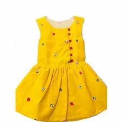 Casual Wear KidsFrocks Kids Yellow Cotton Frock, Small