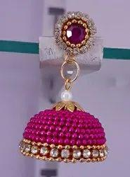 Panchadurga Pink Ball Chain Jumuka Earring