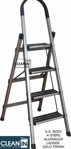 Clean-In 4 Steps Gold Finish S.S. Body, Aluminium Steps Folding Ladder