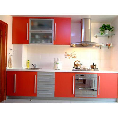 Red And Grey Red Modular Kitchen Cabinet Rs 650 square feet RD
