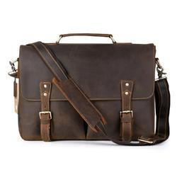 Brown Men's High Quality Pure Leather Briefcase Messenger Bag, Pure Leather(Y/N): Yes