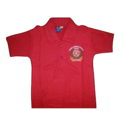 Red Cotton Boys School Uniform T Shirts