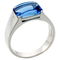 With Gemstone For Mens Engagement Silver Ring