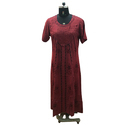 Half Sleeve Long Maroon Dress