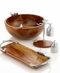 Wooden Serving Bowl And Platter