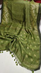 Party Wear Jamdani Work Ethnic Linen Saree with Blouse Piece