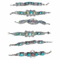 Brass Hand Bracelet With Stone Work