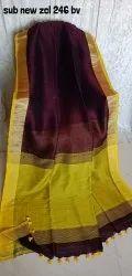 Linen Saree With Zari Border