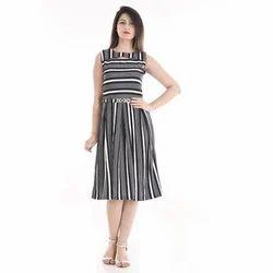 Polyester Amnik White and Black Striped Dress