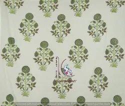 Floral Mugal Buta Hand Block Print Cotton Fabric