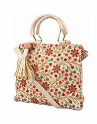 Rexine Golden Hanging Ladies Bag