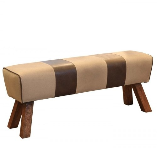Optional Wood,Foam And Leather Ottoman Pouf Bench, Size: 40*60*45 Cm