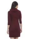 Ladies Maroon Hooded Midi Dress
