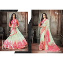 Silk Printed Women Plain Saree