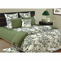 Green And White Cotton Printed Bedsheet, Type: Double