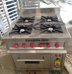 Transglobe Lpg Four Gas Burner With Oven, For Restaurants, Hotels Canteen