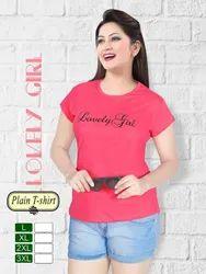 Ladies Pink Round Neck Plain T-shirt