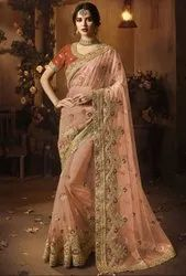Peach Designer Net Saree