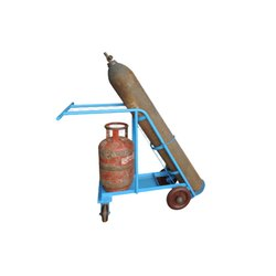 Mild Steel Rubber Oxygen hand trolley, for Carry Material
