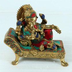 Capstona Brass Ganesh on Chowki Idols