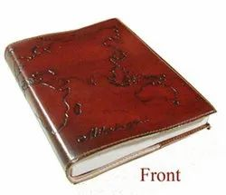 World Map Leather Embossed Journal Diary Notebook