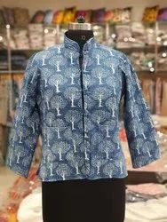 Printed Blue Cotton Full Sleeves High Neck Jacket for Women