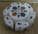 White Marble Floral Design Box