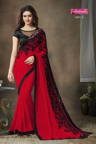 8d612656cb Georgette Red Designer Saree, Rs 1225 /piece, Varsiddhi Fashions ...