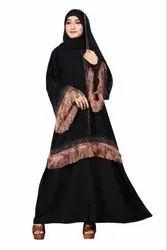Women's Nida Plain Abaya Burqa With Chiffon Jacket And Dupatta