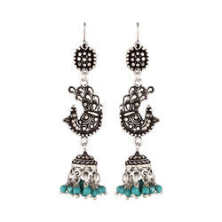 Sterling Silver Peacock With Jhumki Earring