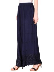 Navy Blue Chikan Embroidery Palazzo Pants