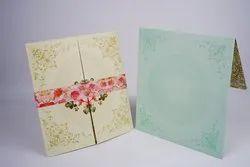 Flap Pastel Designer Wedding Card, 2 Leaflet