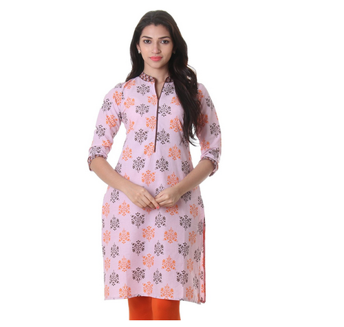 ef8bb0d58411db Ladies Kurti - Pink Lavender Stand-Collar Cotton Kurta Manufacturer ...