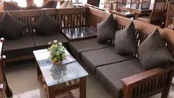 Brown Modular Wooden Sofa Set