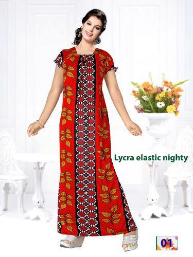 5203df349c Full Length Printed Ladies Lycra Elastic Nighty