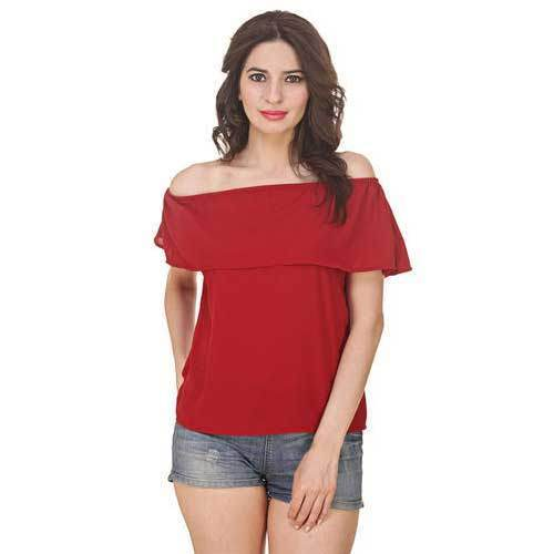 b11598fa477 Red Ladies Plain Off Shoulder Top, Rs 170 /piece, Ugna Enterprises ...