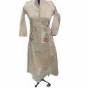 Ladies Chanderi Full Sleeve Embroidered Kurti, Size: Xl